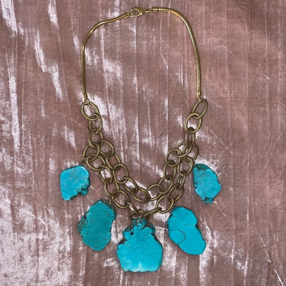 Anthropology gold turquoise stone necklace